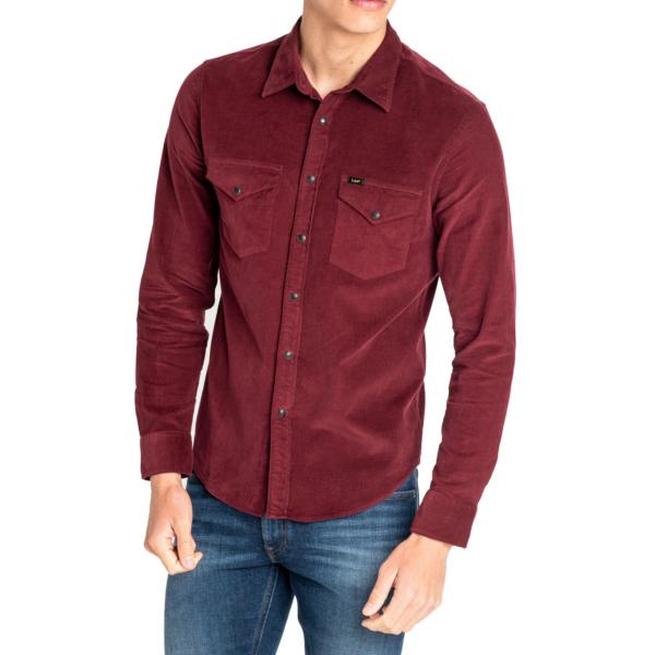 LEE Clean Western Cord Shirt - Burgundy (L644MRMF)