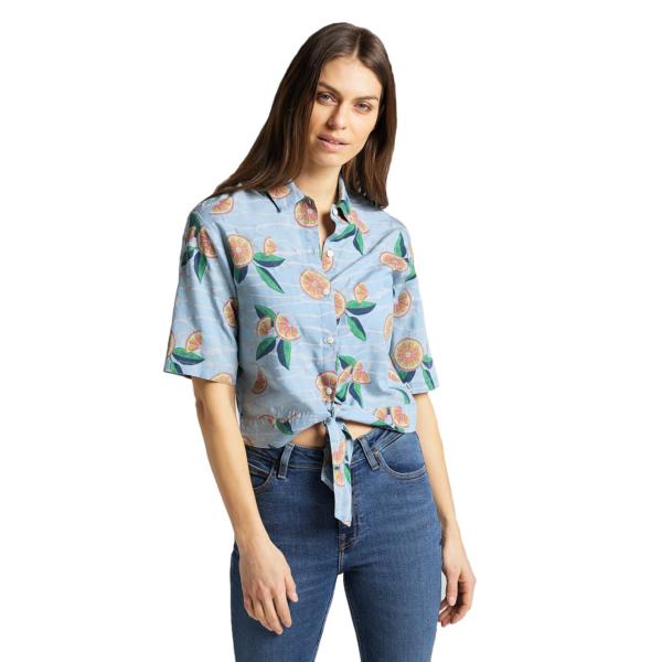 LEE Knotted Resort Women Shirt - Piscine (L49XZMQE)