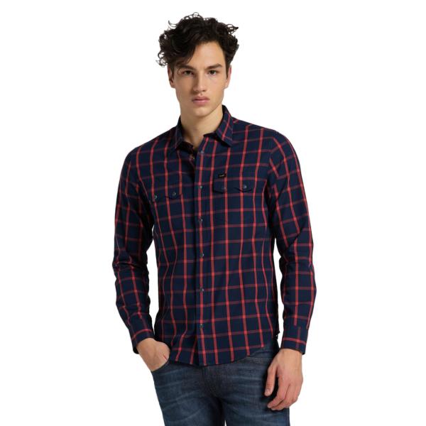 LEE Rider Men Shirt - Aurora Red (L856KRNV)