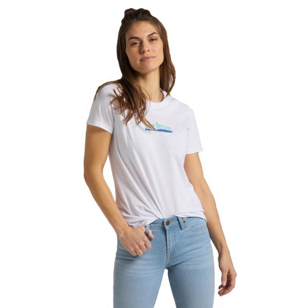 LEE Slim Logo Women Tee - Bright White (L44NEPLJ)