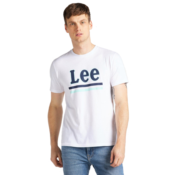 LEE Stripe Logo Tee Men - Bright White (L64V-FQ-LJ)