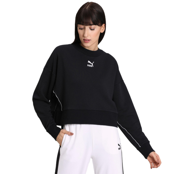 PUMA Classics Cropped Crew Women Sweater - Black (597637-01)