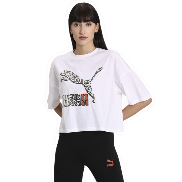 PUMA Classics Loose Fit Women Tee - White/ Animal (597726-52)