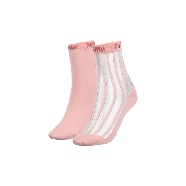 PUMA Transparent Stripe Women Short Socks - 2 Pack - Peach (907366-04)