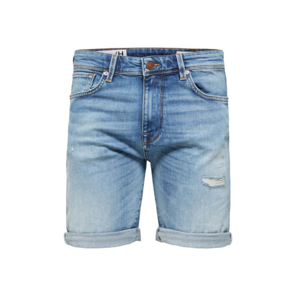 SELECTED Alex Ripped Denim Shorts Stretch (16079614-Mid-Blue)