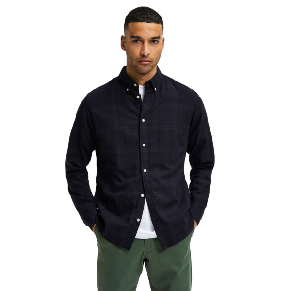 SELECTED Slim Flannel Shirt (16074464-DarkestSpruce)