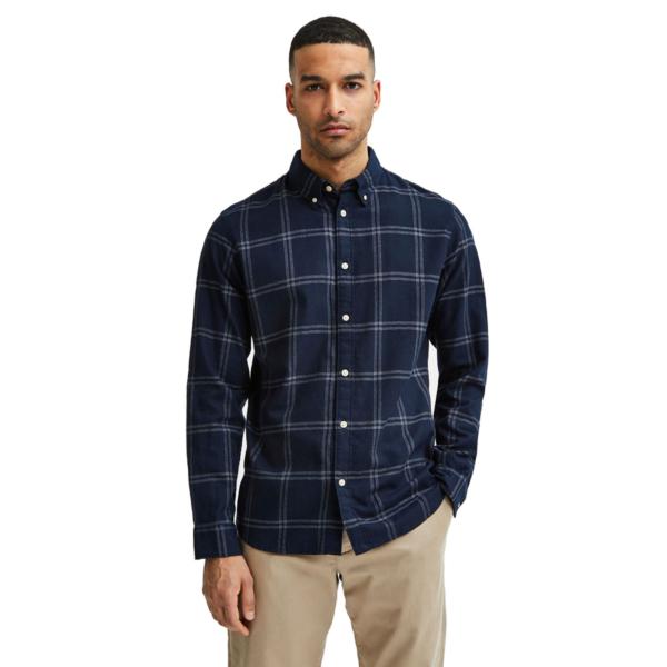 SELECTED Slim Flannel Shirt (16074464-Mood-Indigo)