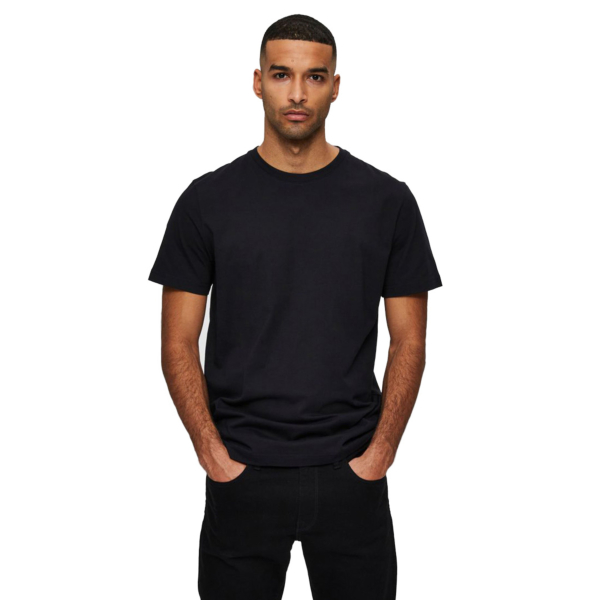 SELECTED Norman O Neck Tee (16077365-Black)