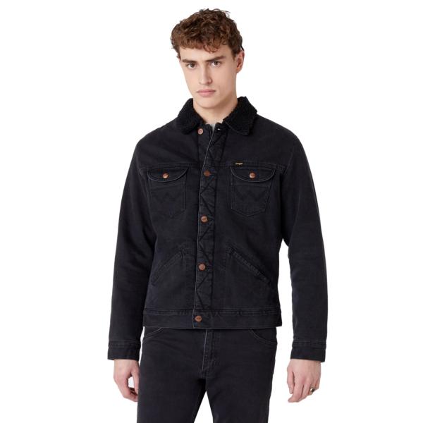 WRANGLER 124MJ Sherpra Denim Jacket - Black Washed (W4MSB5236)