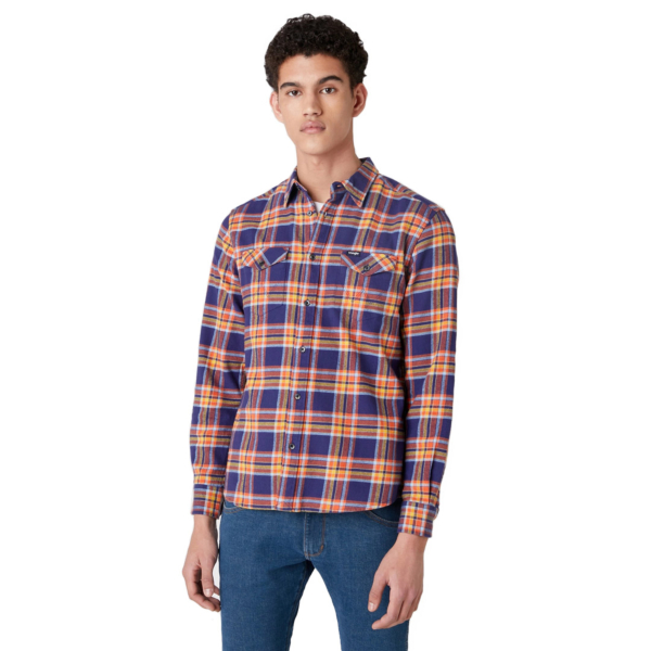 WRANGLER Two Pocket Flap Flannel Shirt - Patriot Blue (W5A53WX5H)
