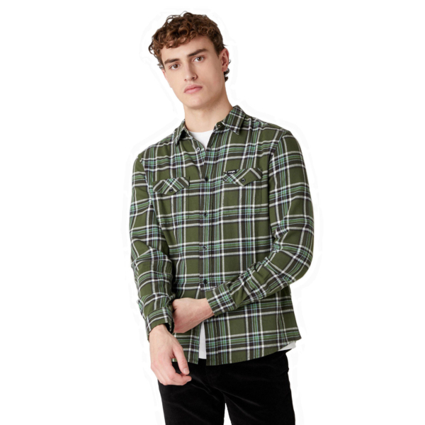 WRANGLER Two Pocket Flap Flannel Shirt - Rifle Green (W5A53WG13)