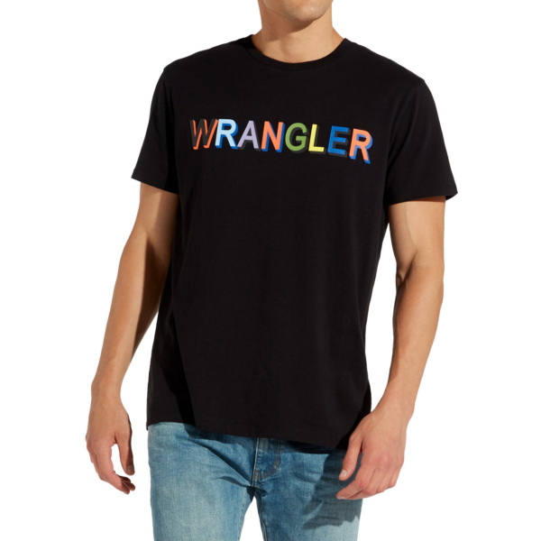 WRANGLER Multi Color Logo Men Tee - Black (W7C25FQ01)