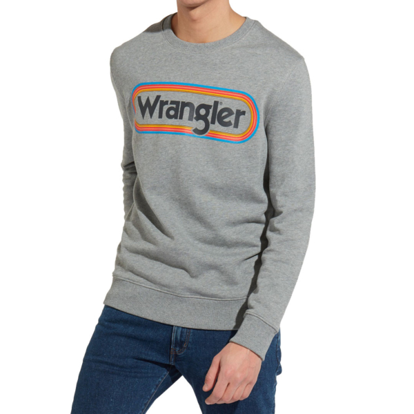 WRANGLER Multi Logo Sweat - Grey Marl (W6565ILVB)