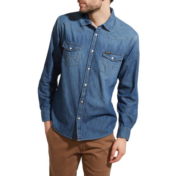 WRANGLER Western Denim Shirt - Mid Indigo (W5973O78E)