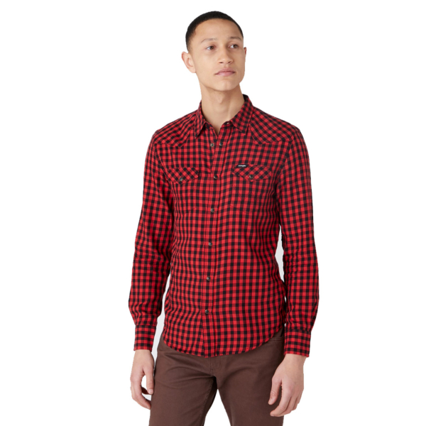 WRANGLER Western Men Shirt - Mars Red (W5F03OX3A)