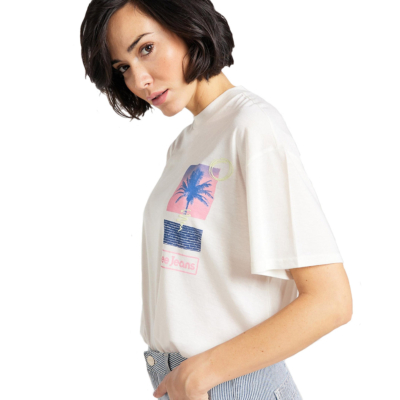 LEE Oversized Γυναικείο Μπλουζάκι Εκρου (L41S-BY-NQ)