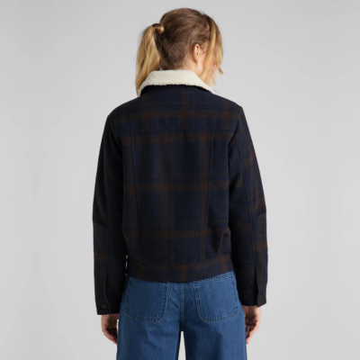 LEE Wool Check Sherpa Women Jacket - Winter Brown (L56XMSOH)