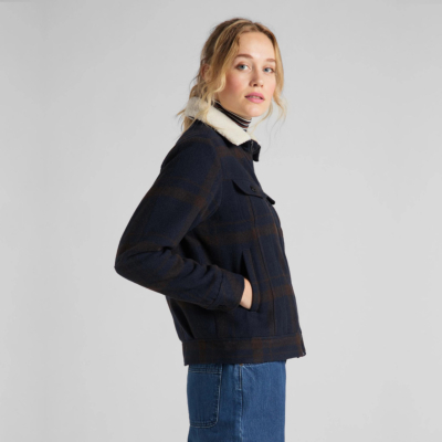 LEE Wool Check Sherpa Jacket Women - Winter Brown (L56XMSOH)