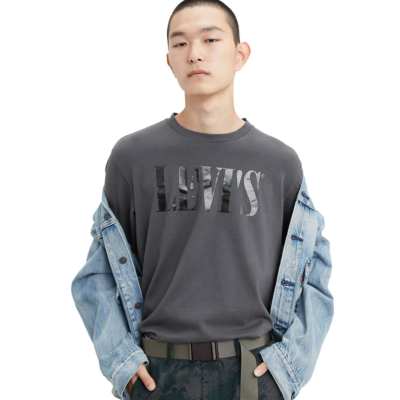 Levi's® 90s Serif Logo Relaxed Tee - Forged Iron (69978-0045) - detail