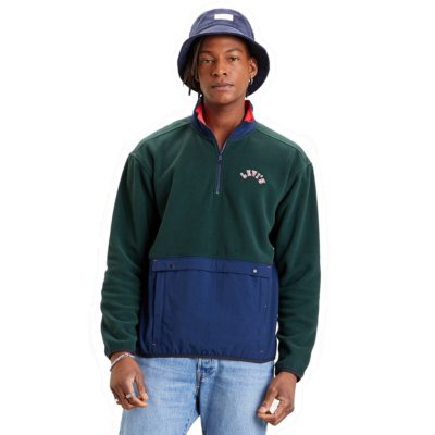 Levi's® Quarter Zip Polar Fleece - Varsity Color Block Python Green (35978-0001)