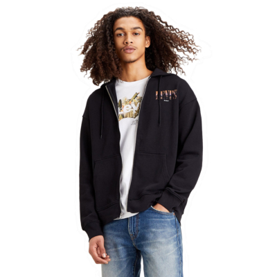 Levi's® Relaxed Serif Graphic Zip Up Hoodie - Jet Black (38717-0000)