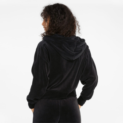PUMA Iconic T7 Velour Zip Hoodie Women - Black (589996-01)