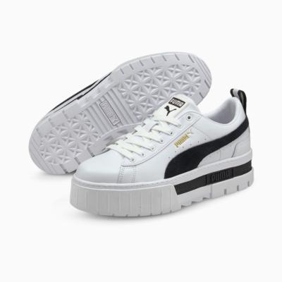 PUMA Mayze Leather Wn's Sneakers - White/ Black (381983-01)