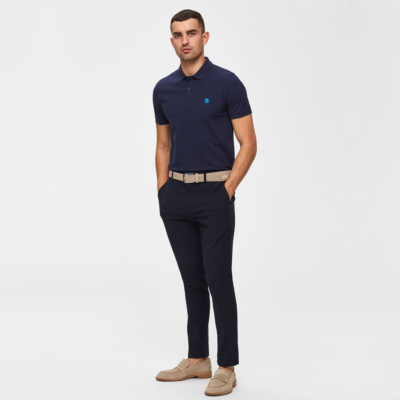 SELECTED Haro Embroidery Men Polo (16049517-Peacoat)