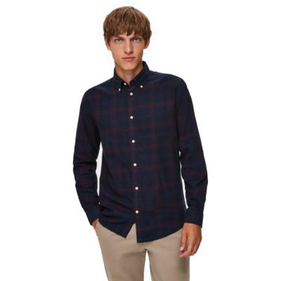 SELECTED Homme Slim Flannel Shirt - Dark Sapphire (DK-16074464)