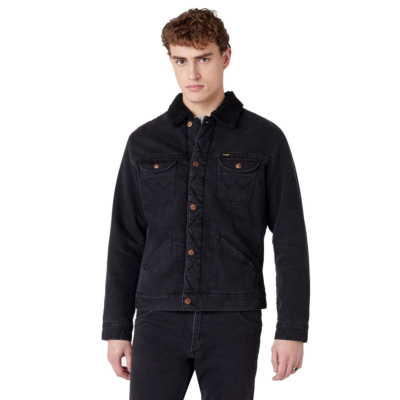 WRANGLER 124MJ Sherpra Denim Jacket - Black Washed (W4MSB5236)