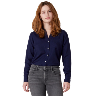WRANGLER One Pocket Stripe Women Shirt - Navy Blue (W5R42MXKB)