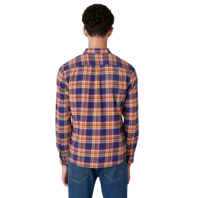 WRANGLER Two Pocket Flap Flannel Men Shirt - Patriot Blue (W5A53WX5H)