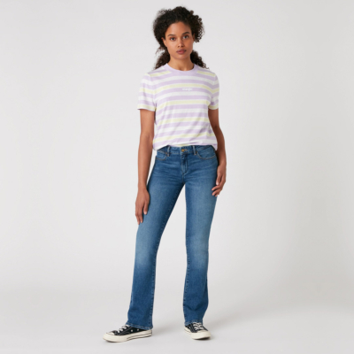 WRANGLER High Rib Women Stripe Tee - Pastel Violet (W7N9GHP26)