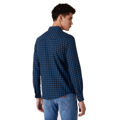 WRANGLER LS Western Men Shirt - Dark Blue Teal (W5F03OB16)