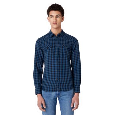 WRANGLER Western Men Shirt - Dark Blue Teal (W5F03OB16)