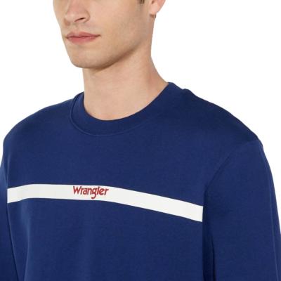 WRANGLER Stripe Logo Sweat - Blue Depths (W6A5-HY-XJY)