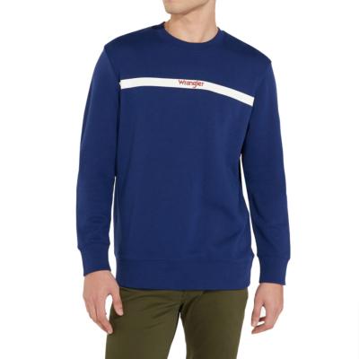 WRANGLER Stripe Logo Men Sweat - Blue Depths (W6A5-HY-XJY)