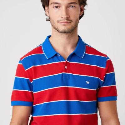 WRANGLER Stripe Men Polo - Rococco Red (W7ALKFXA4)