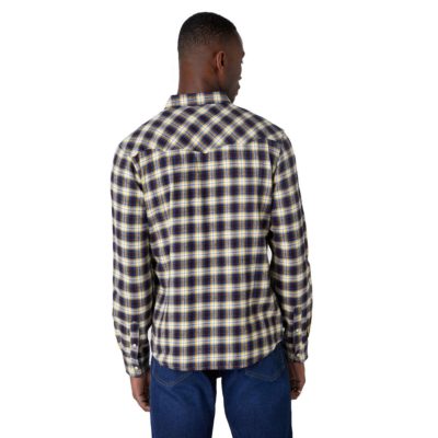 WRANGLER Western Flannel Men Shirt - Navy (W5A0B3114)