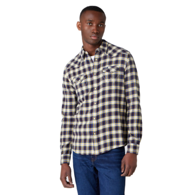 WRANGLER Western Flannel Shirt - Navy (W5A0B3114)