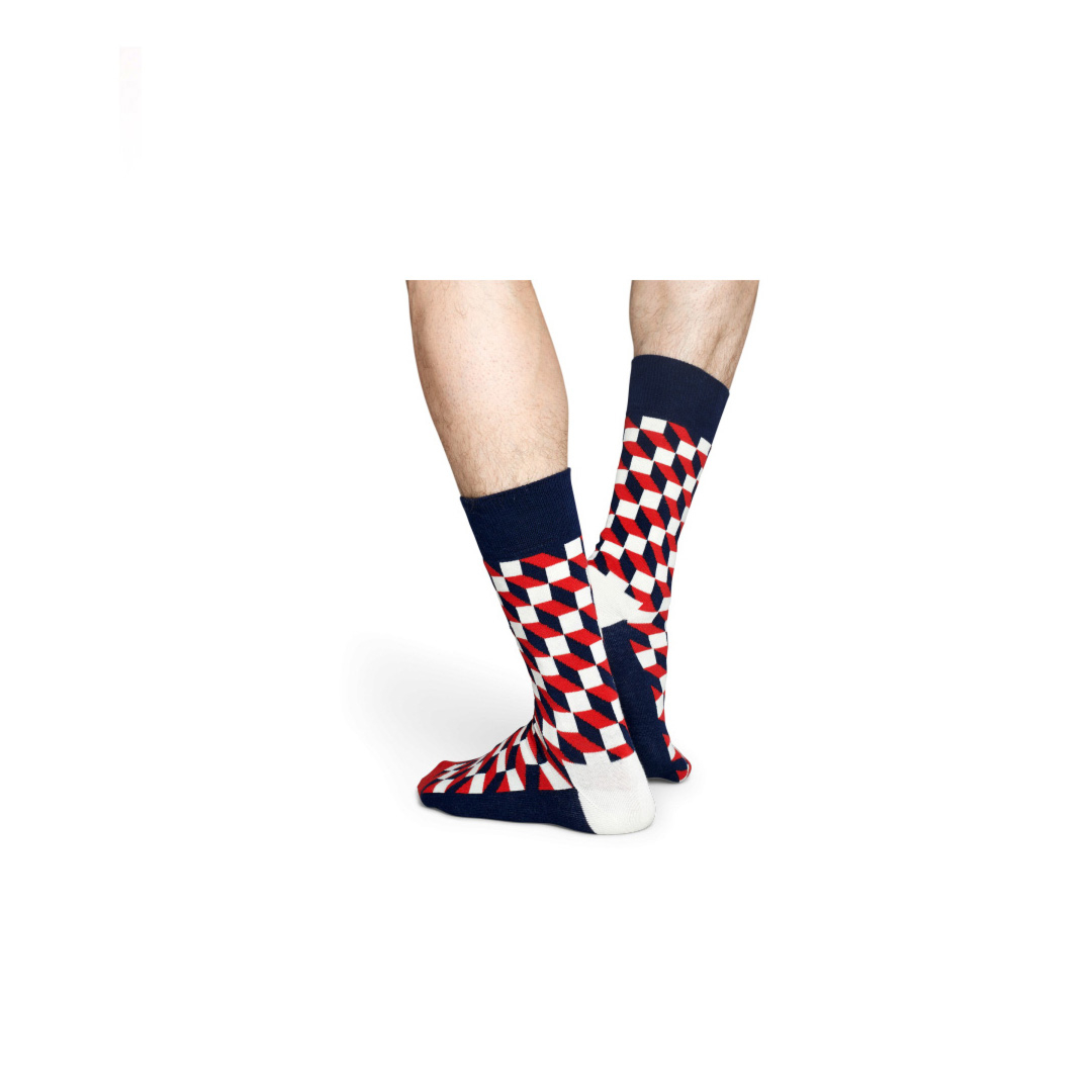 HAPPY SOCKS Filled Optic κάλτσες unisex - Navy/Red (FO01-068)