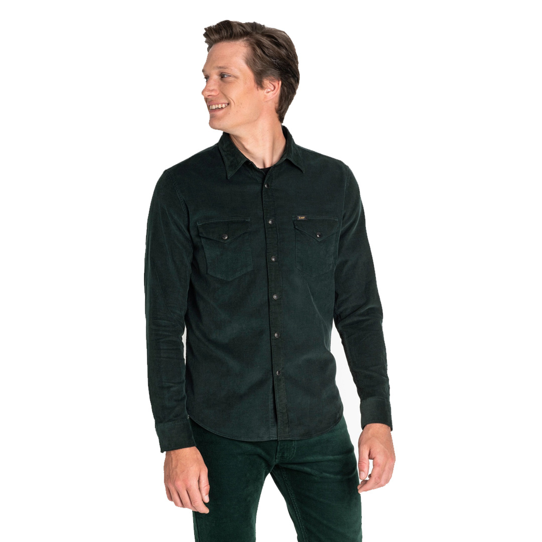 LEE Clean Western Cord Shirt - Bottle Green (L644MRBB)