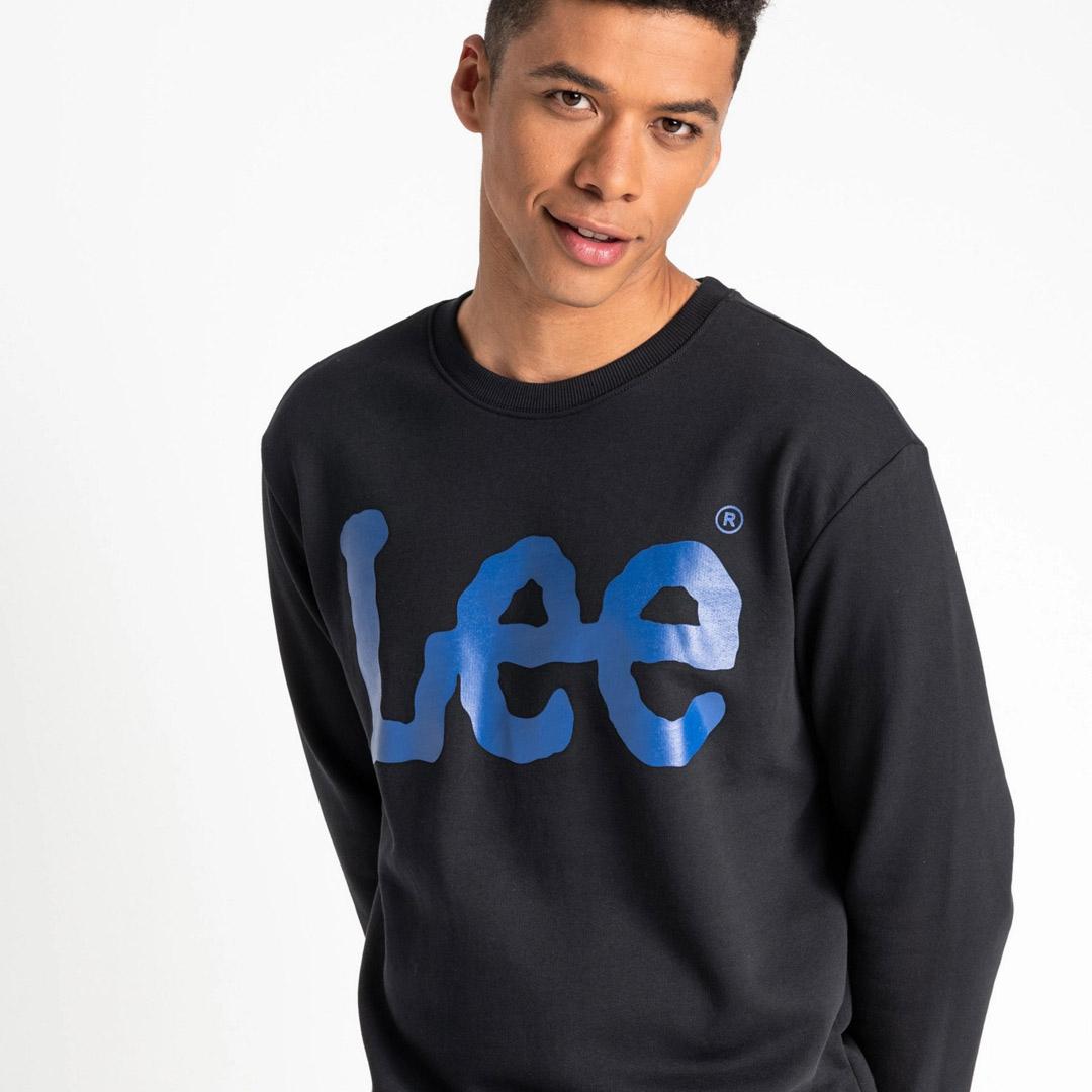 LEE Λογότυπο Φούτερ Ανδρικό Μαύρο (L81RTJ01)
