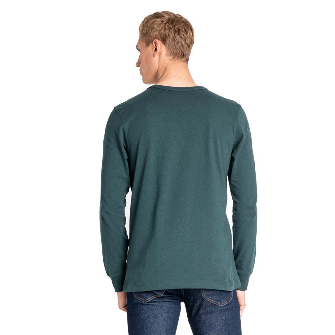 LEE Outline Logo Long Sleeve Men Tee - Bottle Green (L60GFEBB)