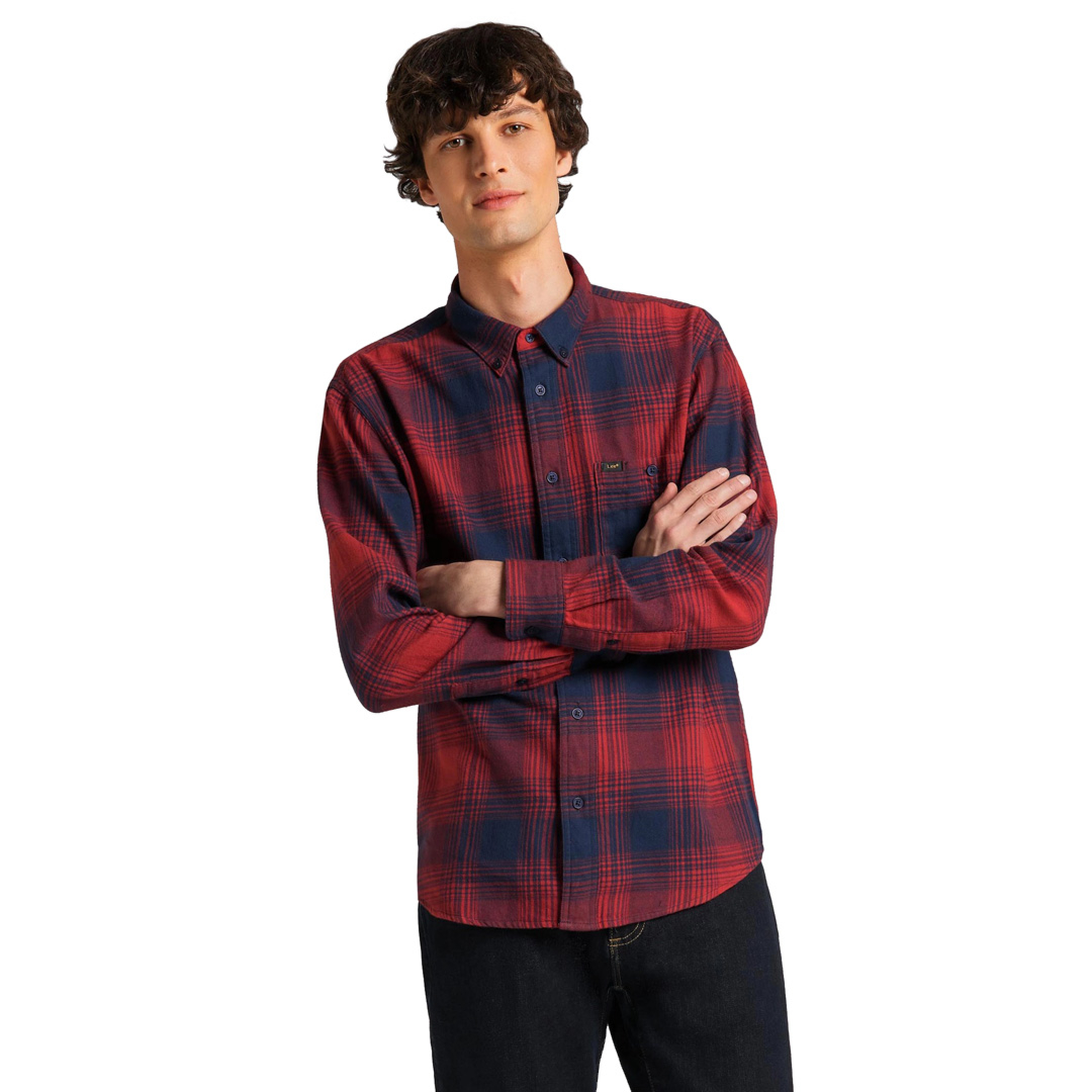 LEE Riveted Men Shirt - Red Ocre (L66INNOE)