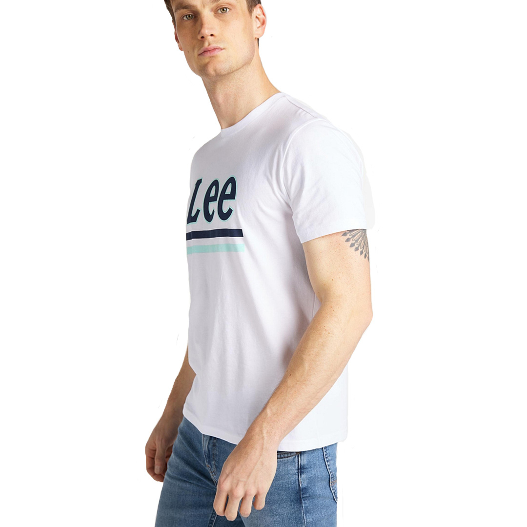LEE Λογότυπο Μπλουζάκι Ανδρικό Λευκό (L64V-FQ-LJ)