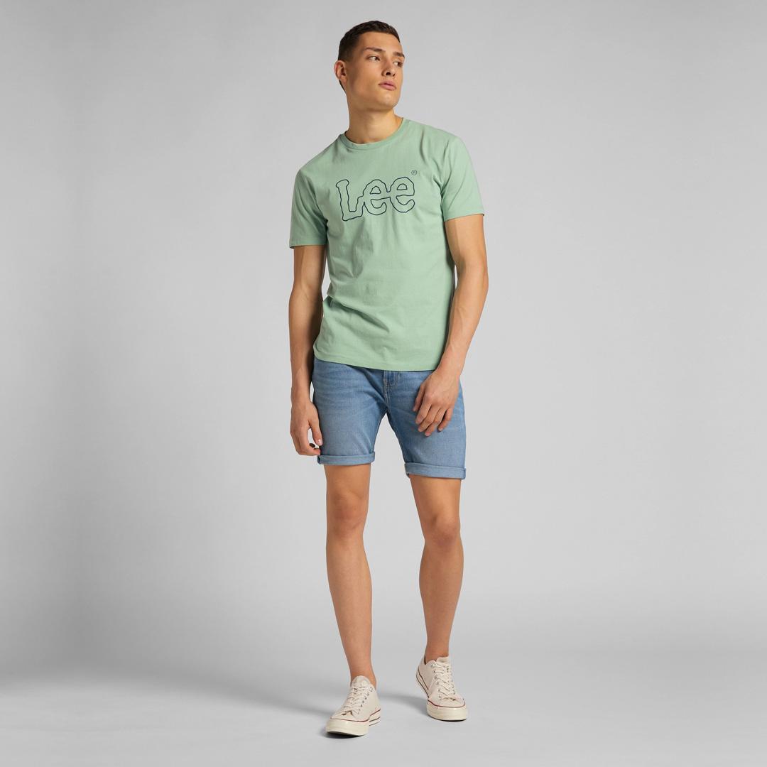 LEE Wobbly Logo T-Shirt for men in Granite Green (L65QAIQN)