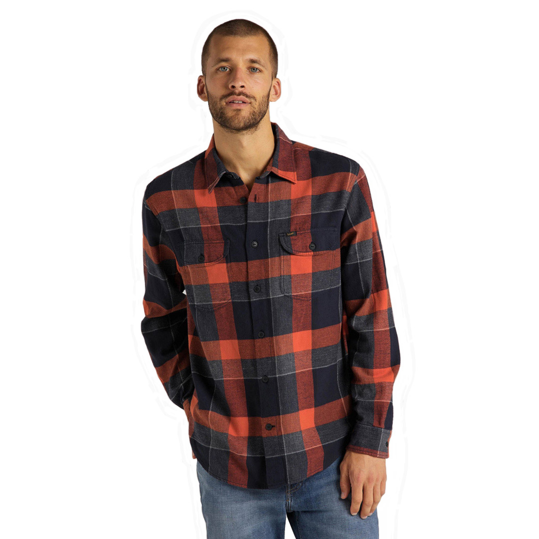 LEE Worker Flannel Men Shirt - Burnt Ocra (L68H-RI-OM)