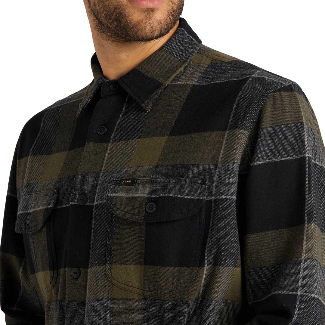 LEE Worker Flannel Shirt - Olive Green (L68HRINX)
