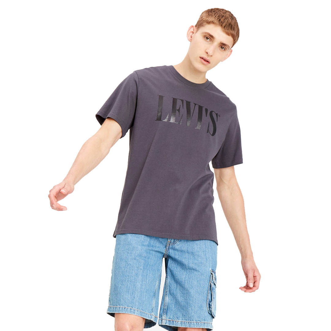 Levi's® 90s Serif Logo Relaxed Tee - Forged Iron (69978-0045)